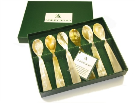 Egg Spoon - Oxhorn - Square End - Box Of Six