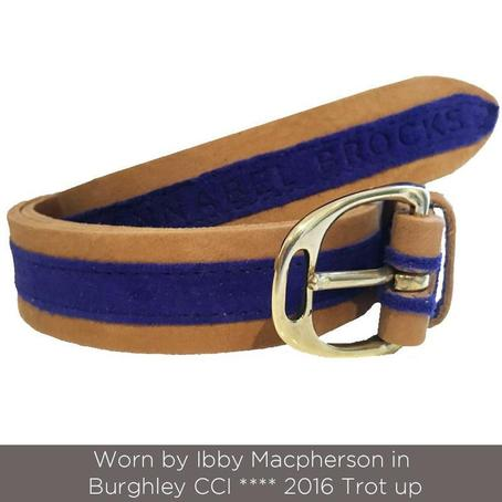 Annabel Brocks Leather Belt Cobalt Blue suede contrast