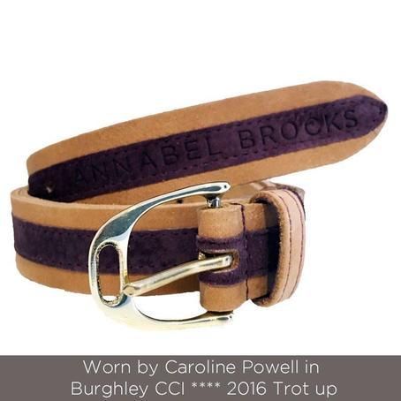 Annabel Brocks Leather Belt Plum suede contrast