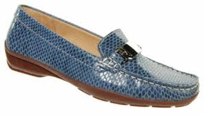 Capollini Amity Python Denim Silver Bar Loafer V544