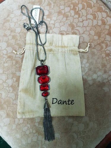 Dante Red Stone long Necklace Costume Jewellery