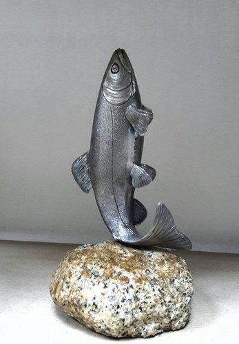 Silver Salmon on Rock Base